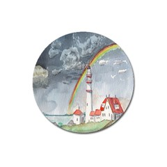 Watercolour Lighthouse Rainbow Magnet 3  (round) by Amaryn4rt