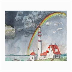 Watercolour Lighthouse Rainbow Small Glasses Cloth (2 Side) by Amaryn4rt