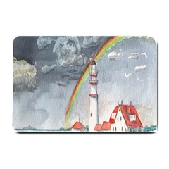 Watercolour Lighthouse Rainbow Small Doormat  by Amaryn4rt