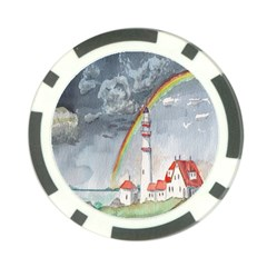 Watercolour Lighthouse Rainbow Poker Chip Card Guard by Amaryn4rt
