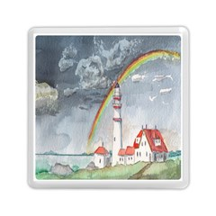 Watercolour Lighthouse Rainbow Memory Card Reader (square)  by Amaryn4rt