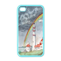 Watercolour Lighthouse Rainbow Apple Iphone 4 Case (color) by Amaryn4rt