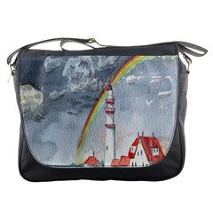 Watercolour Lighthouse Rainbow Messenger Bags by Amaryn4rt