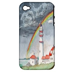 Watercolour Lighthouse Rainbow Apple Iphone 4/4s Hardshell Case (pc+silicone) by Amaryn4rt