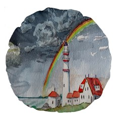 Watercolour Lighthouse Rainbow Large 18  Premium Round Cushions by Amaryn4rt