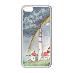 Watercolour Lighthouse Rainbow Apple Iphone 5c Seamless Case (white) by Amaryn4rt