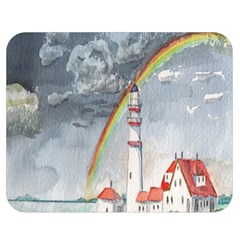 Watercolour Lighthouse Rainbow Double Sided Flano Blanket (medium)  by Amaryn4rt
