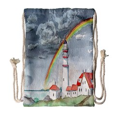 Watercolour Lighthouse Rainbow Drawstring Bag (large) by Amaryn4rt
