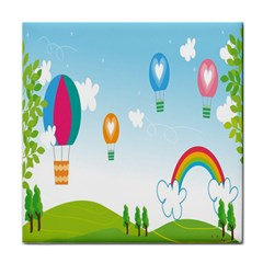 Landscape Sky Rainbow Garden Tile Coasters by Amaryn4rt