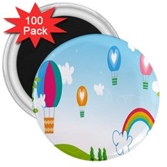 Landscape Sky Rainbow Garden 3  Magnets (100 Pack) by Amaryn4rt