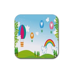 Landscape Sky Rainbow Garden Rubber Coaster (square)  by Amaryn4rt