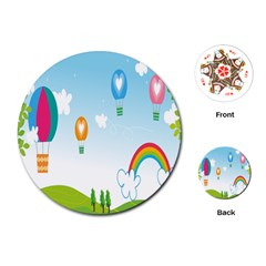 Landscape Sky Rainbow Garden Playing Cards (round)  by Amaryn4rt