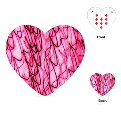 An Unusual Background Photo Of Black Swirls On Pink And Magenta Playing Cards (heart)