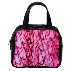 An Unusual Background Photo Of Black Swirls On Pink And Magenta Classic Handbags (one Side) by Amaryn4rt
