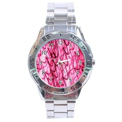 An Unusual Background Photo Of Black Swirls On Pink And Magenta Stainless Steel Analogue Watch by Amaryn4rt