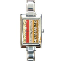 Digitally Created Collage Pattern Made Up Of Patterned Stripes Rectangle Italian Charm Watch