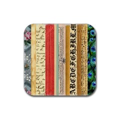 Digitally Created Collage Pattern Made Up Of Patterned Stripes Rubber Square Coaster (4 Pack)  by Amaryn4rt