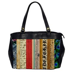 Digitally Created Collage Pattern Made Up Of Patterned Stripes Office Handbags by Amaryn4rt