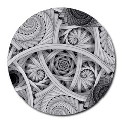 Fractal Wallpaper Black N White Chaos Round Mousepads