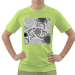 Fractal Wallpaper Black N White Chaos Green T Shirt