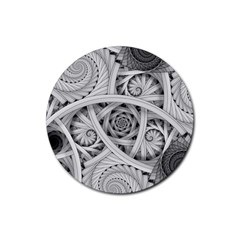 Fractal Wallpaper Black N White Chaos Rubber Round Coaster (4 Pack)
