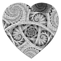 Fractal Wallpaper Black N White Chaos Jigsaw Puzzle (heart) by Amaryn4rt