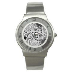 Fractal Wallpaper Black N White Chaos Stainless Steel Watch