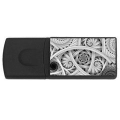 Fractal Wallpaper Black N White Chaos Usb Flash Drive Rectangular (4 Gb) by Amaryn4rt