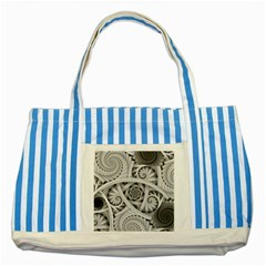 Fractal Wallpaper Black N White Chaos Striped Blue Tote Bag