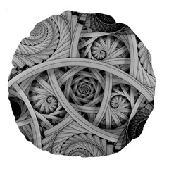 Fractal Wallpaper Black N White Chaos Large 18  Premium Round Cushions