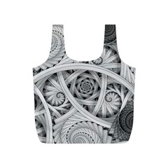 Fractal Wallpaper Black N White Chaos Full Print Recycle Bags (s)
