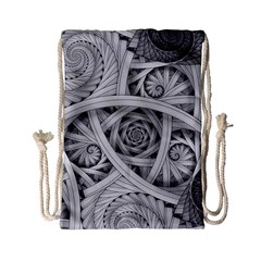 Fractal Wallpaper Black N White Chaos Drawstring Bag (small) by Amaryn4rt