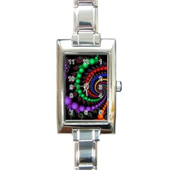 Fractal Background With High Quality Spiral Of Balls On Black Rectangle Italian Charm Watch by Amaryn4rt