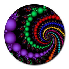 Fractal Background With High Quality Spiral Of Balls On Black Round Mousepads by Amaryn4rt