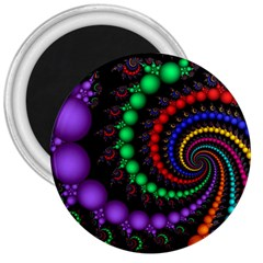 Fractal Background With High Quality Spiral Of Balls On Black 3  Magnets