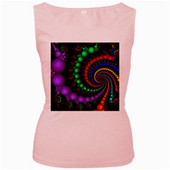 Fractal Background With High Quality Spiral Of Balls On Black Women s Pink Tank Top