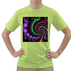 Fractal Background With High Quality Spiral Of Balls On Black Green T Shirt