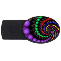Fractal Background With High Quality Spiral Of Balls On Black Usb Flash Drive Oval (4 Gb) by Amaryn4rt