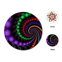 Fractal Background With High Quality Spiral Of Balls On Black Playing Cards (round)  by Amaryn4rt