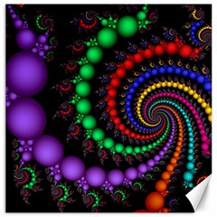 Fractal Background With High Quality Spiral Of Balls On Black Canvas 12  X 12