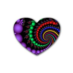 Fractal Background With High Quality Spiral Of Balls On Black Rubber Coaster (heart)