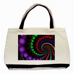 Fractal Background With High Quality Spiral Of Balls On Black Basic Tote Bag (two Sides)