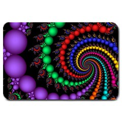 Fractal Background With High Quality Spiral Of Balls On Black Large Doormat