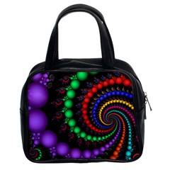 Fractal Background With High Quality Spiral Of Balls On Black Classic Handbags (2 Sides) by Amaryn4rt