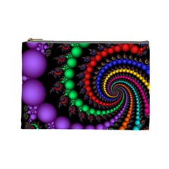 Fractal Background With High Quality Spiral Of Balls On Black Cosmetic Bag (large)