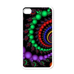 Fractal Background With High Quality Spiral Of Balls On Black Apple Iphone 4 Case (white)