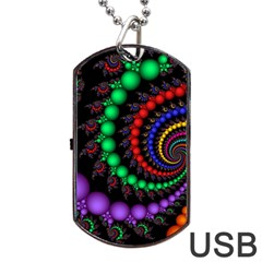 Fractal Background With High Quality Spiral Of Balls On Black Dog Tag Usb Flash (one Side) by Amaryn4rt