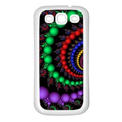 Fractal Background With High Quality Spiral Of Balls On Black Samsung Galaxy S3 Back Case (white) by Amaryn4rt