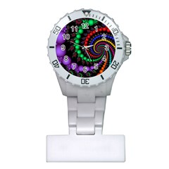 Fractal Background With High Quality Spiral Of Balls On Black Plastic Nurses Watch by Amaryn4rt