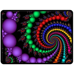 Fractal Background With High Quality Spiral Of Balls On Black Double Sided Fleece Blanket (large)  by Amaryn4rt